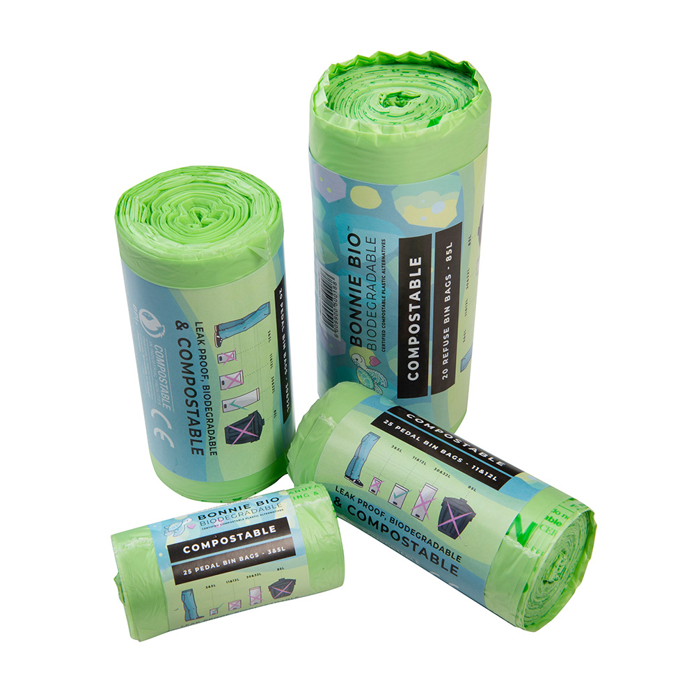 Rolls of green Bonnie Bio UK's multi-purpose compostable bags in different sizes
