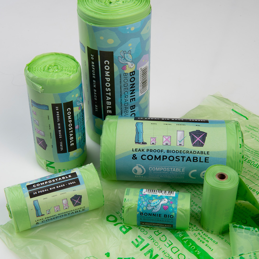 Different-sized compostable, eco-friendly bags from Bonnie Bio UK