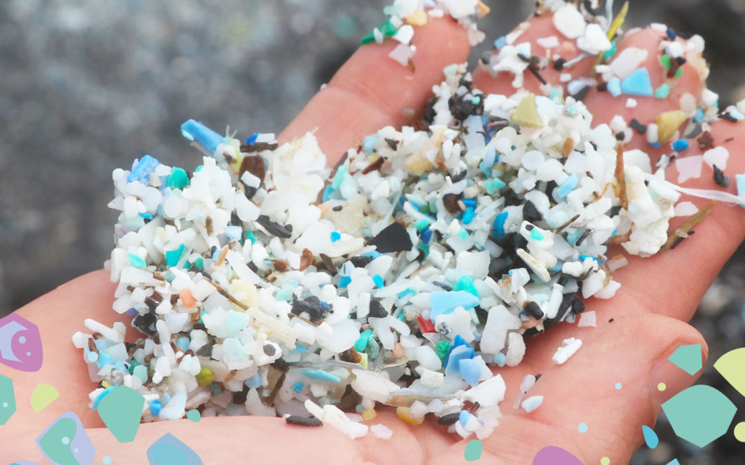 A hand holding multi-coloured plastic shards showing the problems with oxo-degradable plastic for plastic education