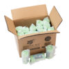 A cardboard box bulk pack of individually packaged compostable bag rolls from Bonnie Bio UK with three rolls outside the box