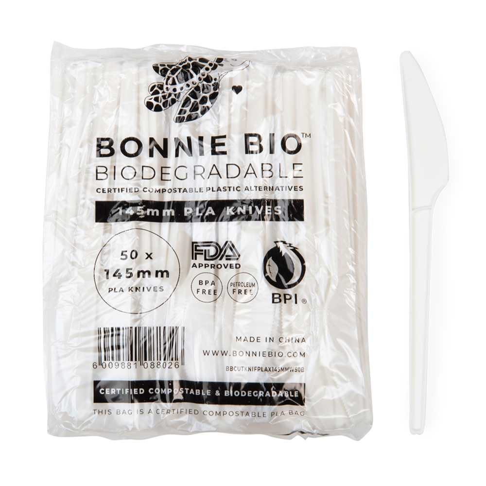 A pack of white compostable knives with a single knife on the right of the pack from Bonnie Bio UK