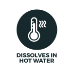 A thermometer showing Bonnie Bio UK's water soluble bag dissolves in hot water
