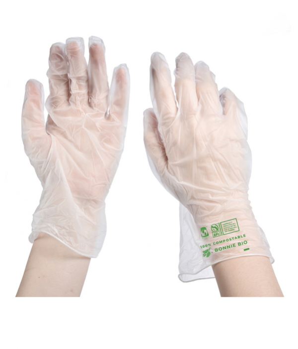 A pair of hands showing the front and back view of eco-friendly disposable gloves from Bonnie Bio UK