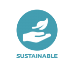 A hand with a leaf above it showing Bonnie Bio UK's compostable forks are sustainable